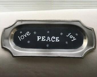 "Chalk Art Platter ""Love, Joy, Peace"""
