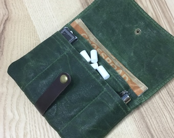 Cover of tobacco rolling Green forest / Tobacco pouch Waxed canvas / tobacco portfolio / Waxed canvas