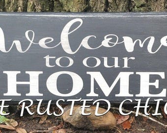 WELCOME To Our HOME Sign,Distressed Sign, Everyday sign, Rustic Sign, Wreath Sign, Wall Sign, Door sign,