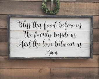 Bless this food before us The family beside us And the love between us, framed shiplap, vintage wood sign