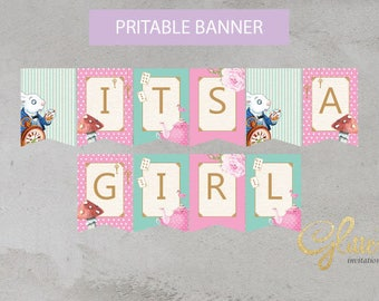 Alice in wonderland Shower Baby Shower Decorations Banner Bunting Flags girl Baby Shower PDF Instant