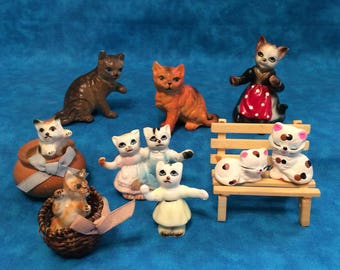 Lot of Vintage Porcelain Ceramic Cat Miniature Figurines ~ Cats and Kittens