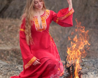 Woman medieval dress Yaroslava; medieval embroidery dress; Elven dress; Medieval linen dress; Gothic dress; Fantasy dress