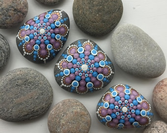 Painted Mandala Decoration Dot Art Beachstones