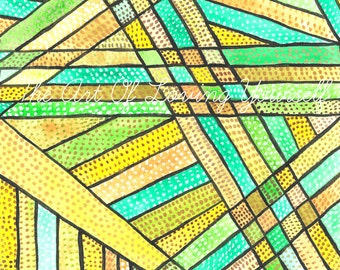 Abstract Green Yellow Straight Lines With Dots Blank Card