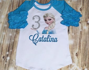 Elsa Frozen Birthday Shirt, Ruffle Raglan with Sequin Pants, Personalized with Name and Age