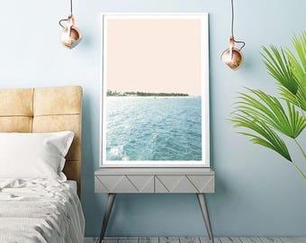 Poster, print, Ocean, sea, beach, palmtrees, Iceland