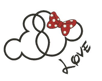 Mickey Mouse Applique Embroidery Design Mickey Head Bow Applique Mickey Ears Applique  Embroidery Machine Instant Download Q8046