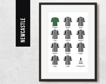 Newcastle 1955 FA Cup Winners Team Print, Football Poster, Football Gift, FREE UK Delivery