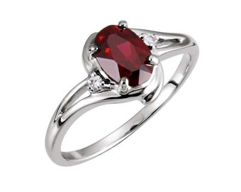 Natural Garnet Ring 14K Gold / Diamonds and Garnet Ring White Gold / Yellow and Rose Gold Available
