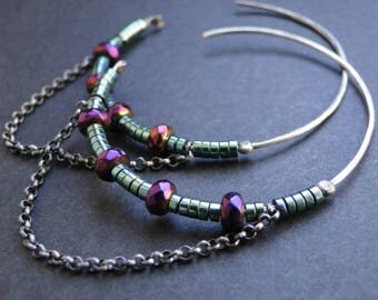 Boho circle earrings, silver circle earrings, boho hoop earrings, hematite earrings