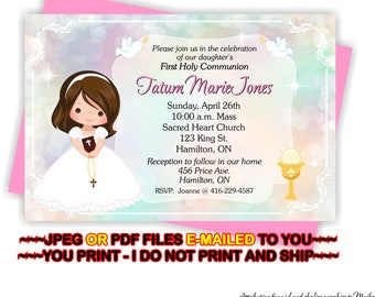 YOU PRINT - First Holy Communion Invitation, 1st Holy Communion Invitation, Girl's 1st Communion Invitation, First Communion -  FIRSTCOMG5