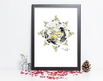 Marble Art Print - Modern Wall Art - Sun - Matt/Gloss/Giclée - A5/A4