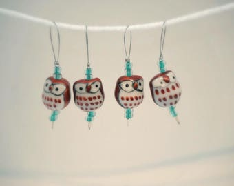 Cute Brown Owl Glass Hand-beaded Stitch Markers for Knitters, set of 4