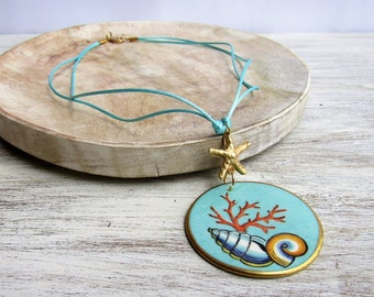 Necklace with porcelain hand painted turquoise pendant and shells decor, bijoux porcelain jewelry, necklace ceramic pendant, shells bijoux