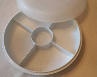 Tupperware Gray and white divided serving center dish