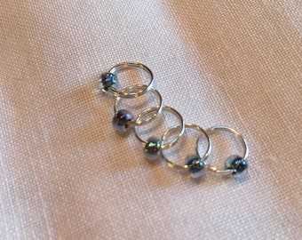 Green/blue beaded stitch markers