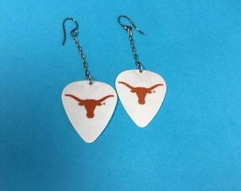 Longhorn Guitar pick Dangle Earrings