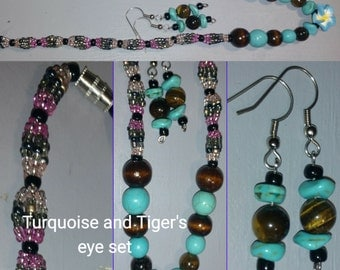 Turquoise and Tiger's eye set