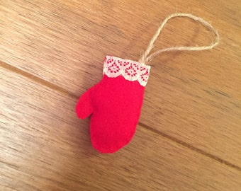 Red mitten felt christmas decoration