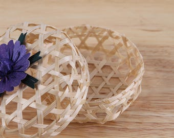 Bamboo Basket, Thai handmade, Wicker box, made from natural,for gift,purple, green, pink
