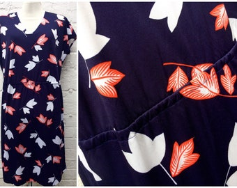 Navy vintage dress, leaf print, 80's womenswear