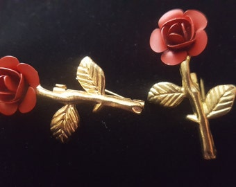 Vintage Small and Petite Brooches Rose Gold Tone