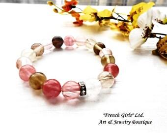 Tourmaline Quartz Bracelet Cherry Quartz Crystal Gemstone Beaded Gems Pink Green Universal Healing Stone Yoga Meditation Chakra Zen Jewelry