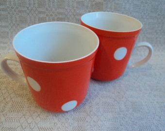 Set of Soviet Vintage Porcelain Orange and White Polka Dot Coffee/Tea Mugs, Riga, Latvian, USSR, Vintage Kitchen Decor