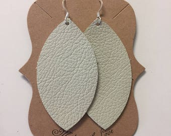 Cream Leather Statement Earrings