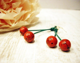 Summer earrings Leather earrings Cherries earrings Coral earrings Fruit earrings Rockabilly Earrings Red Cherry Drops Dangle earrings