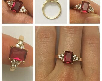 Pink Ruby CZ Gold Plated Ring