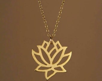 Necklace lotus, necklace gift necklace for women // gold plated