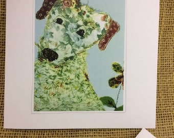 Blank Greetings Card With Print of Textile Artwork of Pink Rosie Dog