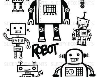 Robot Clipart, Digital Robots Clip Art, Birthday Clipart, Robot Party, Retro Robot Clip Art