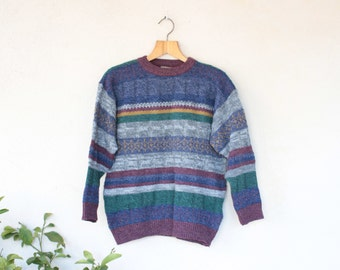 Vinatge Norwegian Multi Stripe Knit - Size Medium