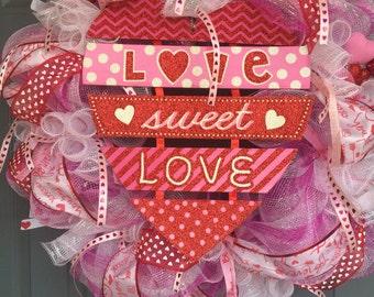 Love Sweet Love DecoMesh Wreath