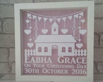 Personalised christening gift, New baby frame, new baby gift, nursery wall art