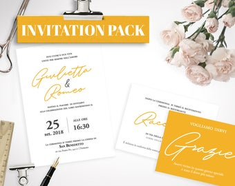 "PRINTABLE Wedding Kit ""Yellow Soul"""