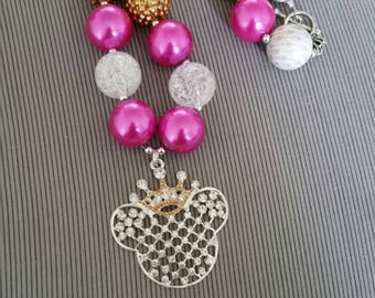 Princess Minnie chunky bead necklace