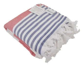 Nautical Turkish Terrry Towel in Red, White & Blue, Oversized Thick Turkish Bath Towel, Large Peshtemal Terry Towel, Soft Striped Fouta