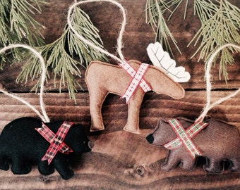 Country bear and moose ornaments