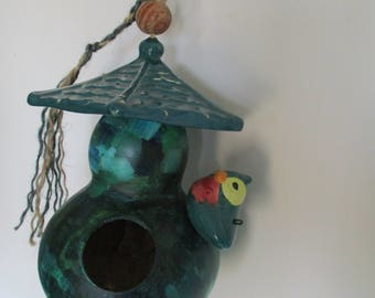 Gourd Birdhouse Under Ceramic Carousel, Small Adorned Gourd Birdhouse, Patio Decor