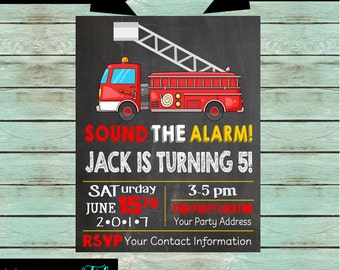Fire Truck Engine Birthday Party Chalkboard Invitations Invites ~ We Print and Mail to You
