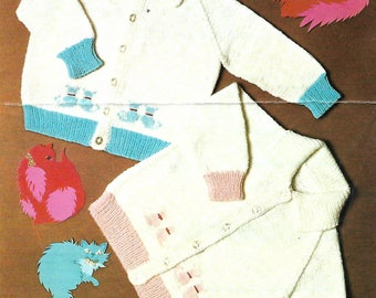 knitting pattern, pdf, kitten cat motif cardigan, boy's, girl's, baby, ages 3 months to 3 years, instant download, digital download