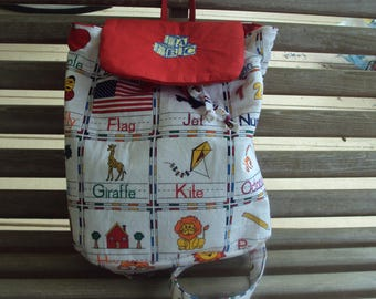 toddler's embroidred backpack, preschool ABC themed backpack, quilted backpack perfect for daycare or overnight at grandparents,diaper bag