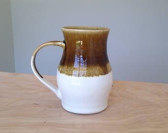 Brown and White Handmade Pottery Mug, Stoneware Coffee Mug, Unique Ceramic Mug, Gift for her