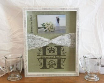 Wedding / Anniversary Shadow Box, Monogram w/ First Names, Established Date, Lace, Burlap.  Size 11 x 14, Clear Picture Holder 4x6