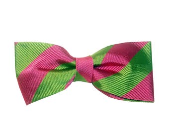Arles Bowtie - J&T Bowties With Attitude - green and pink stripes silk