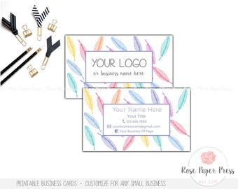 Feathers Business Cards   Custom Printable Business Card   Boho Business Card